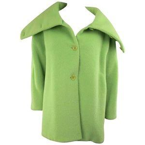 ARMANI COLLEZIONI Green Textured Wool Coat